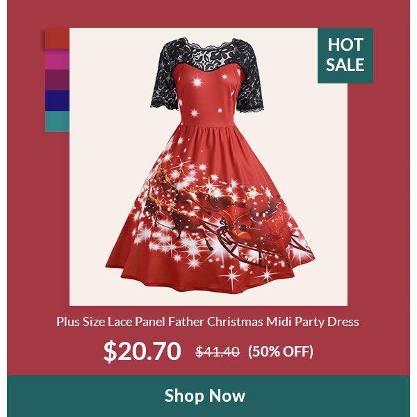 95fa8577600c Plus Size Lace Panel Father Christmas Midi Party Dress ...