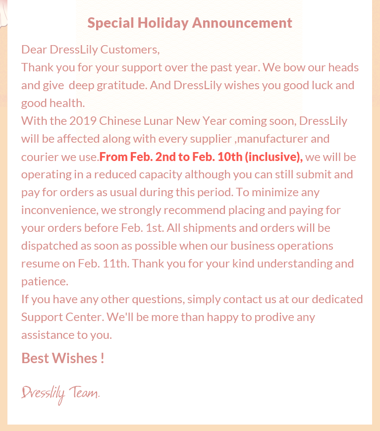Chinese New Year Shipping Announcement - DressLily com